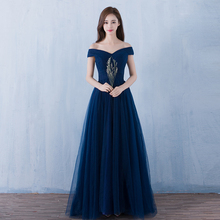 Tulle Evening Dresses Sexy Boat Neck A-line 2019 Vestidos Navy Formal Party