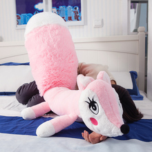 160cm Cute pink fox plush toys sleep pillow stuffed cushion fox doll birthday gift for Children