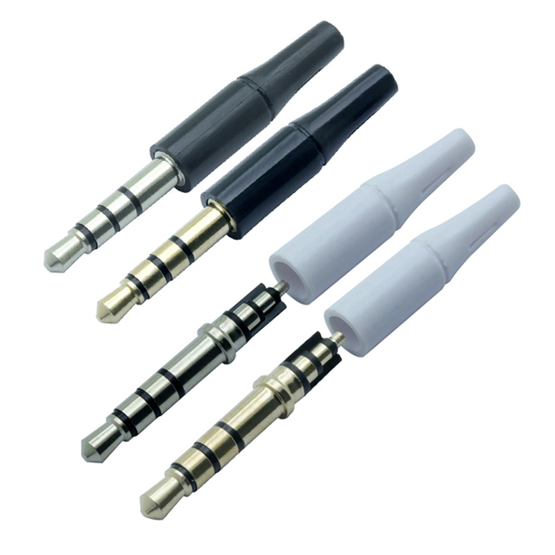 10pcs White And Black 3.5mm Stereo Headset Plug 4 Pole 3 Pole 3.5 Audio Plug Jack Adapter Connector For Iphone New Outlet 2.5mm(China)