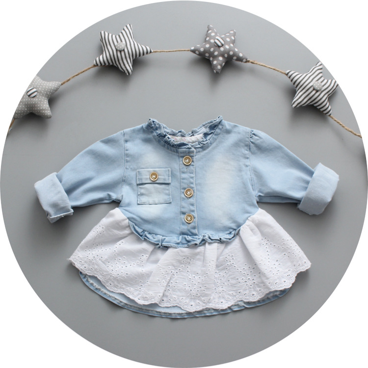 2016 Spring New baby girl denim lace shirt 0 1 2 3 years old little girl spring clothing