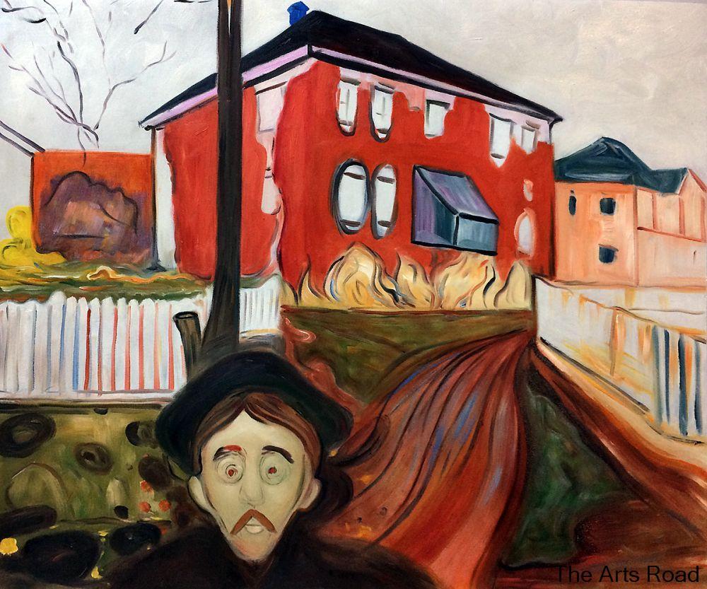 Á'personnaliser Peinture Art Galerie Rouge Vigne Vierge 1898 1900 Edvard Munch Peinture A L Huile Abstraite Motifs Peints A La Main Led Lighting Xz27