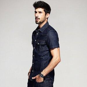 Image 4 - KUEGOU Summer Mens Fashion Denim Shirts Blue Color Pockets Brand Clothing Mans Wear Short Sleeve Slim Fit Jeans Clothes 15502