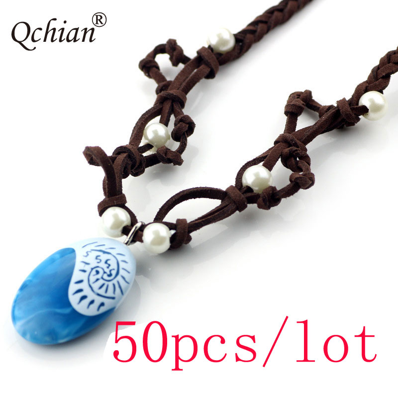 50pcs/lot Moana Ocean Rope Chain Necklaces Blue Stone Necklaces & Pendants Leather Suede Choker Necklace for Women Girls
