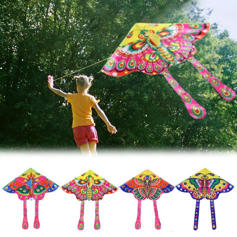90x50cm Colorful Butterfly Kite Toy Foldable Outdoor Fun Sports Kids Flying Kites Children's Stunt Kite Surf Without Control Bar