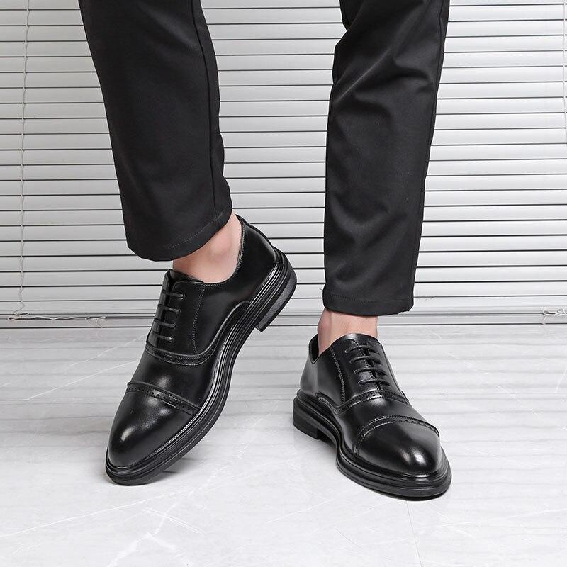 DXKZMCM 2018 en cuir véritable hommes richelieu chaussures à lacets Bullock affaires robe hommes Oxfords chaussures hommes chaussures formelles - 4