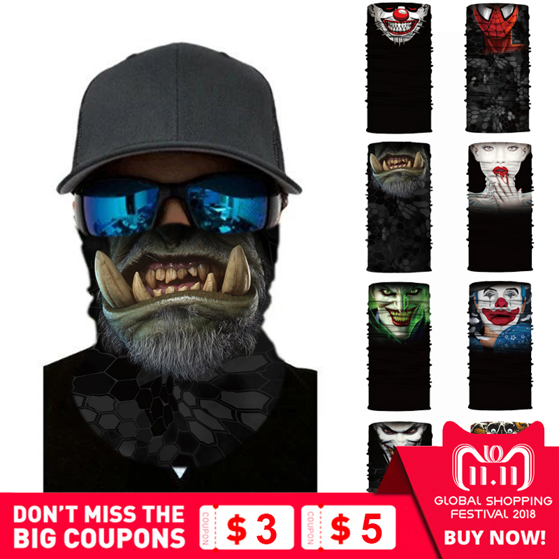 Cycling Motorcycle Head Scarf Neck Warmer Skull Face Mask Ski Balaclava Headband Mask halloween Face Shield bandana Outdoor Ride bicycle ski motor bandana motorcycle face mask skull for motorcycle riding scarf women men scarves scary windproof face shield