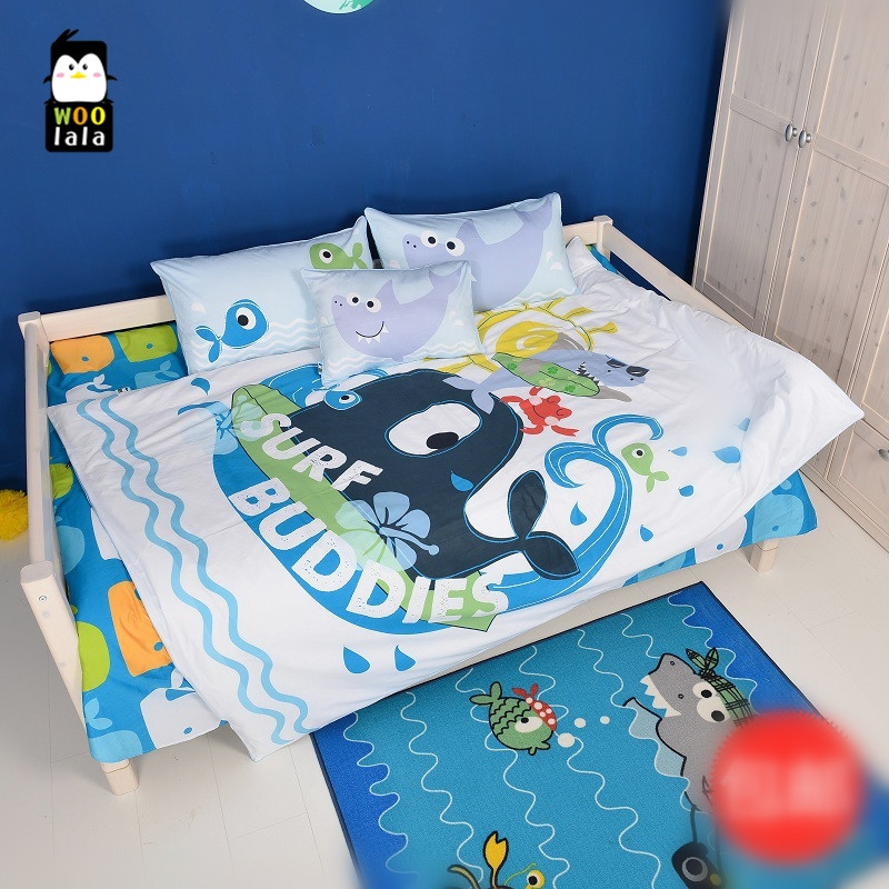 308b235adb Hot sale!Free shipping 4pcs 100%cotton children's ocean shark whale blue  bedding set single/twin full size without filler