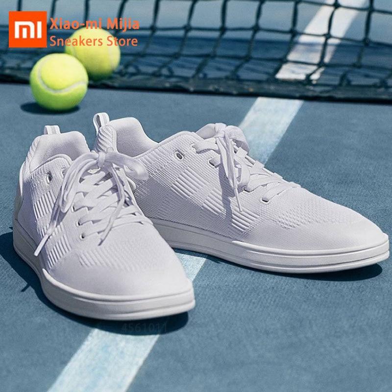 Xiaomi Mijia 90 Fun chaussures de course tricotées Jogging marche chaussures de Sport de haute qualité à lacets athlétique respirant maille homme baskets