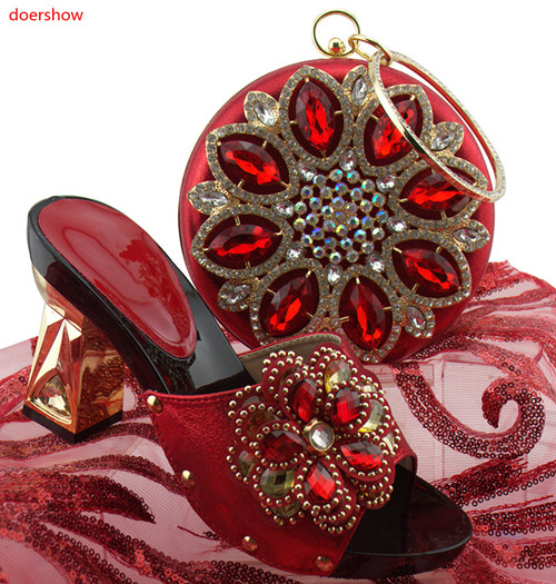 doershow African Style REDShoes And Bag To Match High Quality Italian Shoes and Bag Set Nigerian Party Shoe and Bag Set HUU1-34 capputine african style shoes and bag to match high quality italian shoes and bag set nigerian party shoe and bag set wedding
