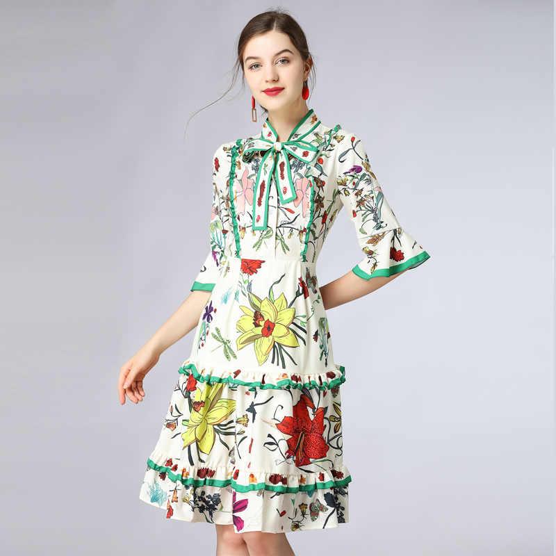 Youe New Arrondi Designer Haute Qualité 2018 Femmes Col Summer Arc Imprimer Manches Piste Robe Courte Brillait TqArXT