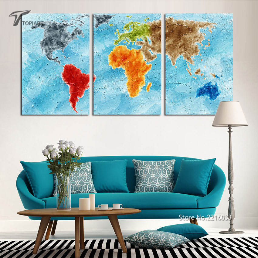 Large wall art canvas print turquoise world map on grunge vintage large wall art canvas print turquoise world map on grunge vintage home decor paintings for living room office 3 panel no frame in painting calligraphy gumiabroncs Image collections