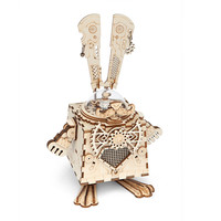 Hot Sale 3D Puzzle Assembled Steampunk Music Box DIY Wooden Rabbit Toy For Children Girls Boys Brain Training Gifts Bunny M481