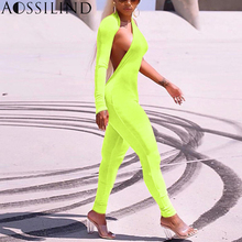 AOSSILIND Fluorescent Green One Shoulder Sexy Bodycon Jumpsuit Women Autumn Long Sleeve Backless Skinny Party Club Overalls long sleeve ruffle skinny one shoulder bodysuit