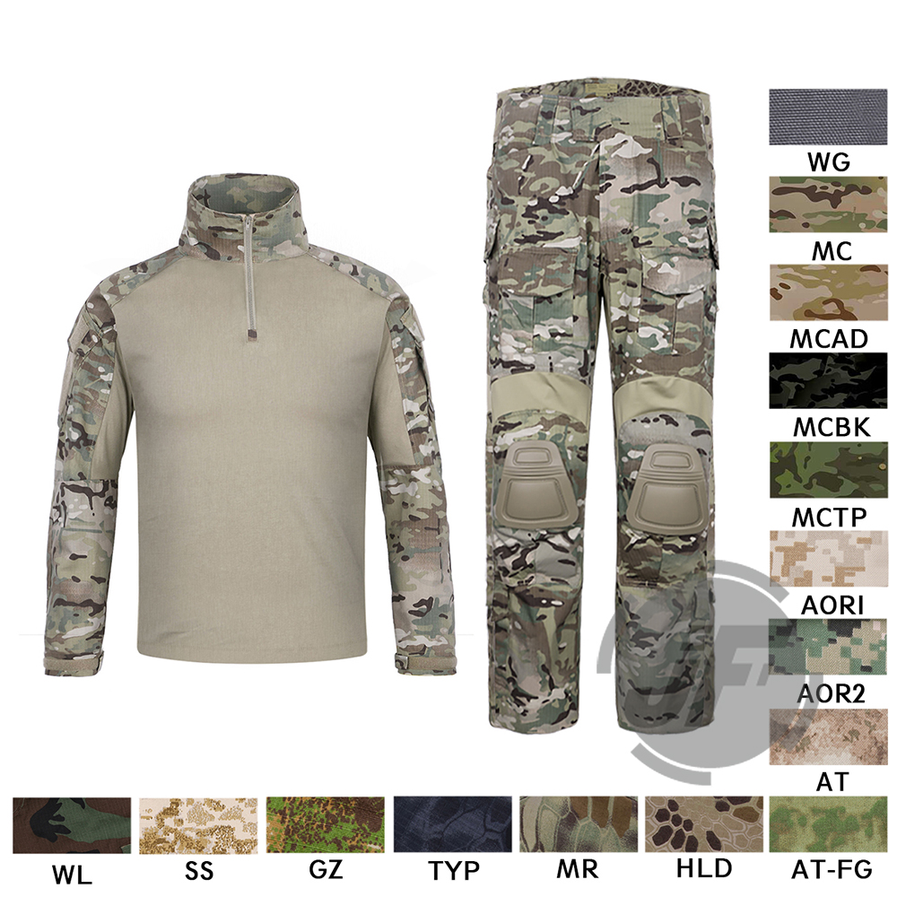 Emerson G3 боевой рубашка и брюки для девочек мотобрюки наколенники комплект EmersonGear Тактический военная Униформа Охота GEN3 Камуфляж BDU форма MC