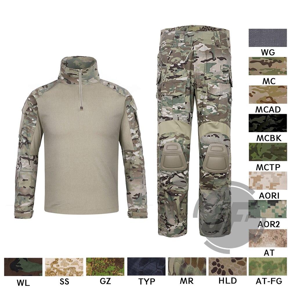 Emerson G3 Combat Shirt et Pantalon Pantalon Genouillères Ensemble EmersonGear Tactique Militaire Chasse GEN3 Camouflage EDR Uniforme MC