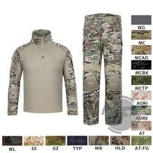 에머슨 g3 컴뱃 셔츠 & 바지 바지 무릎 패드 세트 emersongear 전술 군사 사냥 gen3 위장 bdu 유니폼 mc