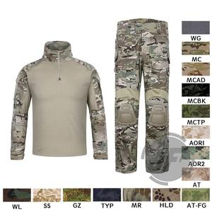 Image 1 - 에머슨 g3 컴뱃 셔츠 & 바지 바지 무릎 패드 세트 emersongear 전술 군사 사냥 gen3 위장 bdu 유니폼 mc