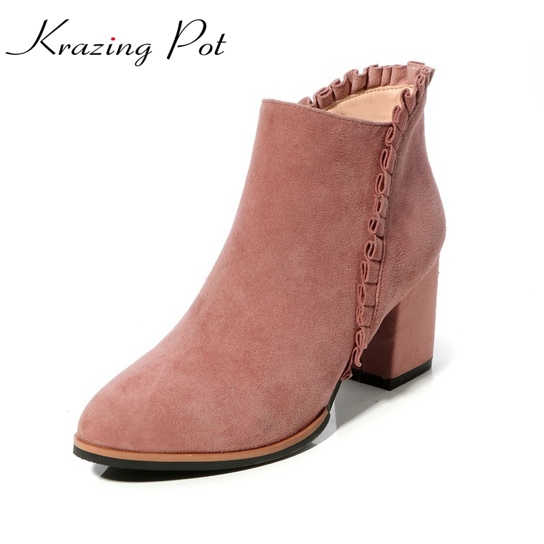 Krazing Pot 2018 sheep suede flowers pointed toe zipper thick high heels high street fashion concise style nude ankle boots L20 krazing pot shallow sheep suede metal buckle thick high heels pointed toe pumps princess style solid office lady work shoes l05