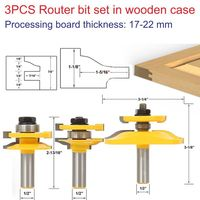 3pcs 1 2 Shank Woodworking Drill Tool Door Plank Router Bits Set Router Bit Set In