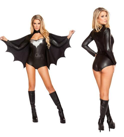 free pp 2016 new arrival batwoman costume dawn of justice movie cosplay black leotard with cloak bat costume halloween costumes - Partyland Halloween Costumes