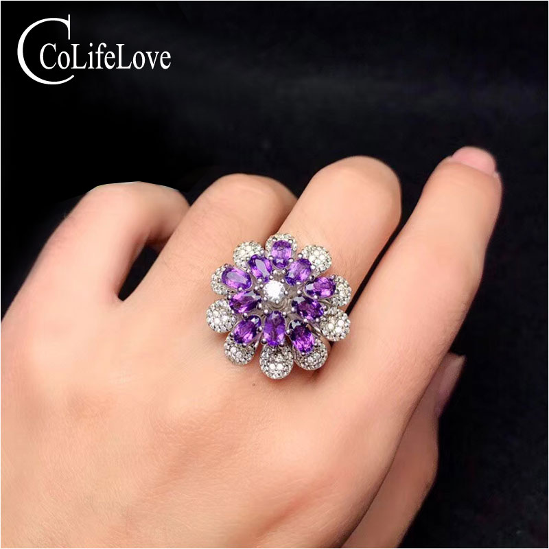 CoLife Jewelry 925 Silver Flower Ring with Amethyst 15 Pieces Natural Amethyst Silver Ring Fashion Silver Amethyst JewelryCoLife Jewelry 925 Silver Flower Ring with Amethyst 15 Pieces Natural Amethyst Silver Ring Fashion Silver Amethyst Jewelry