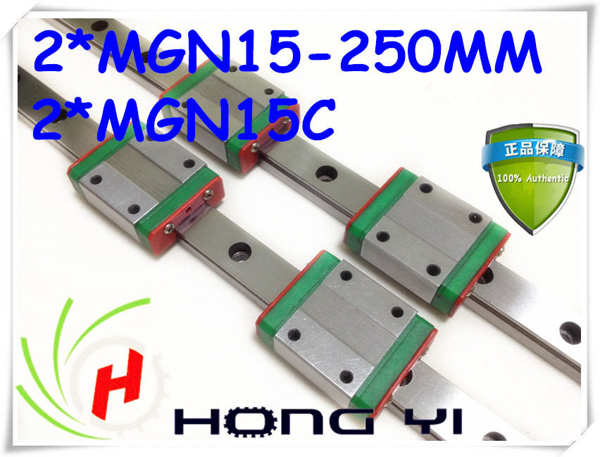 Free Shipping Mini MGN15 15mm miniature linear rail slide =2pcs 15mm L250mm rail+2pcs MGN15C/H carriage for X Y Z Axies mgn15 miniature linear rail 3pcs mgn15 900mm rail 3pcs mgn15c mgn15h carriage for x y z axies 3d printer parts