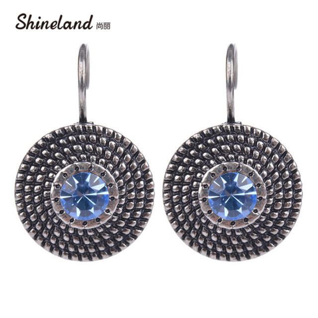 New Trend Jewelry Silver Color Clip On Earring Vintage Crystal Multicolor Beads Round Statement Earrings