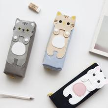 Творческий мультфильм кошка треугольник/площадь холст сумка Молния канцелярские сумки карандаш сумки