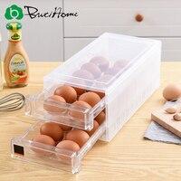 Butihome Kitchen Storage Box 24cells Transparent Plastic Egg Storage Box Refrigerator Drawer Crisper Household Food Storage