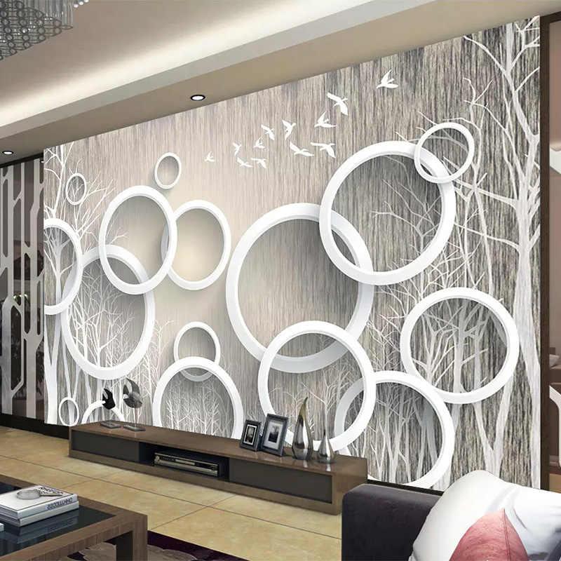Custom Mural Wallpaper Modern Abstract Art Circle Forest Photo
