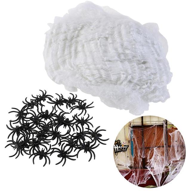 hot halloween scary party decoration props white stretchy cobweb spider web horror halloween black spiders prank - Scary Props