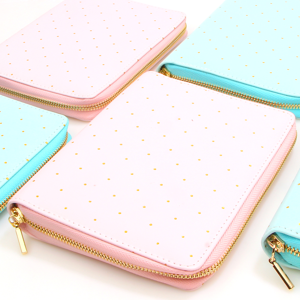 A6 Macaron Zipper Loose Leaf Spiral Notebook Cute Sweet Candy Dot Travel Journal Personal Planner Agenda Organizer