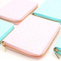 A6 Macaron Zipper Loose Leaf Spiral Notebook Cute Sweet Candy Dot Travel Journal Personal Planner Agenda Organizer