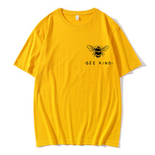 Bee Kind Pocket Print Tshirt Women Tumblr Save The Bees Graphic Tees  T Shirts Cotton O-Neck Tops Drop