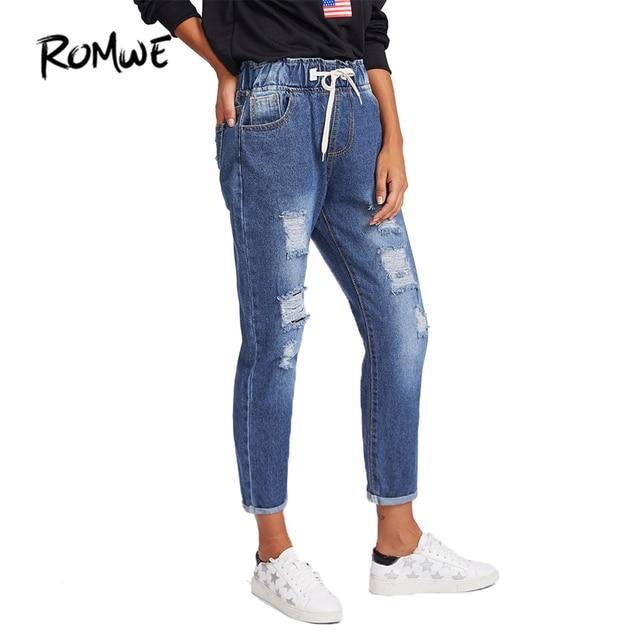 bd8f68dd08 ROMWE Ripped Cuffed Women Blue Jeans Fashion 2018 Spring Casual ...