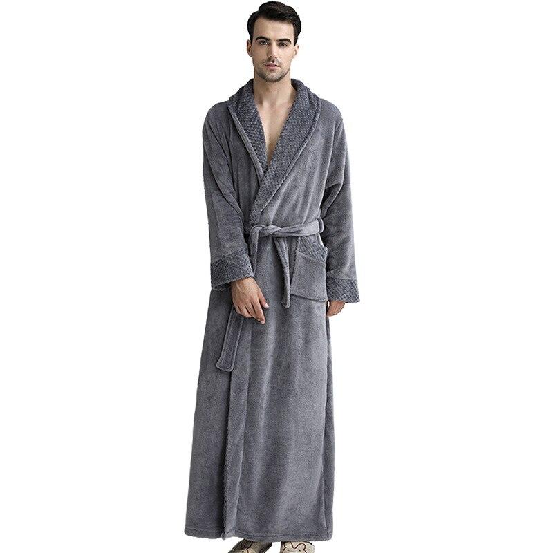 Marque Desigher hommes grande taille hiver thermique Long peignoir épais flanelle chaude Kimono Robes de bain femme robe de chambre vêtements de nuit