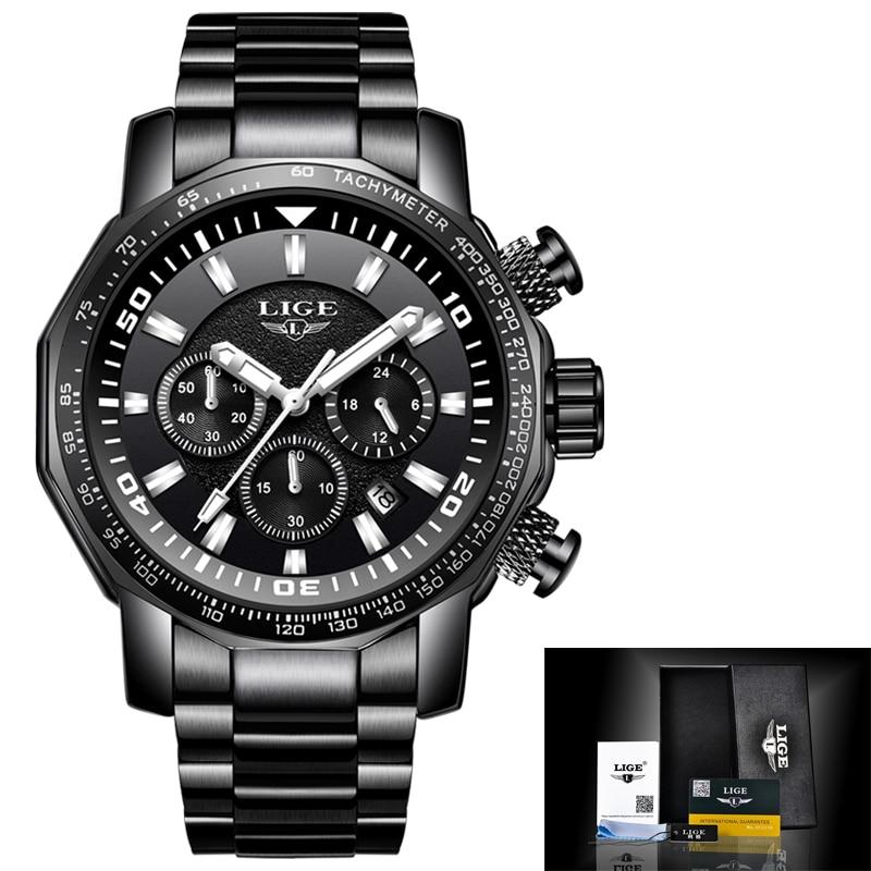LIGE Mens Watches Top Brand Luxury Waterproof 24 hour Date Quartz Watch Man Full Steel Sport WristWatch Men Waterproof Clock+Box цена