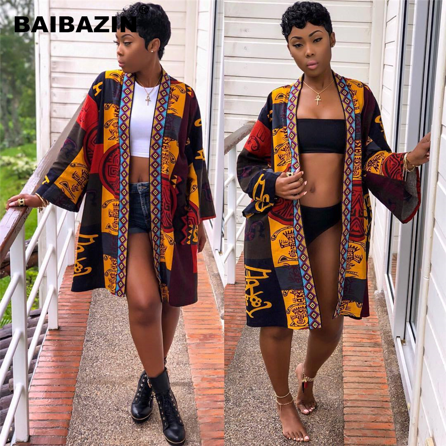 BAIBAZIN Hot African Women Dress European and American Women's Totem Print Long-Sleeved Sexy Windbreaker Jacket