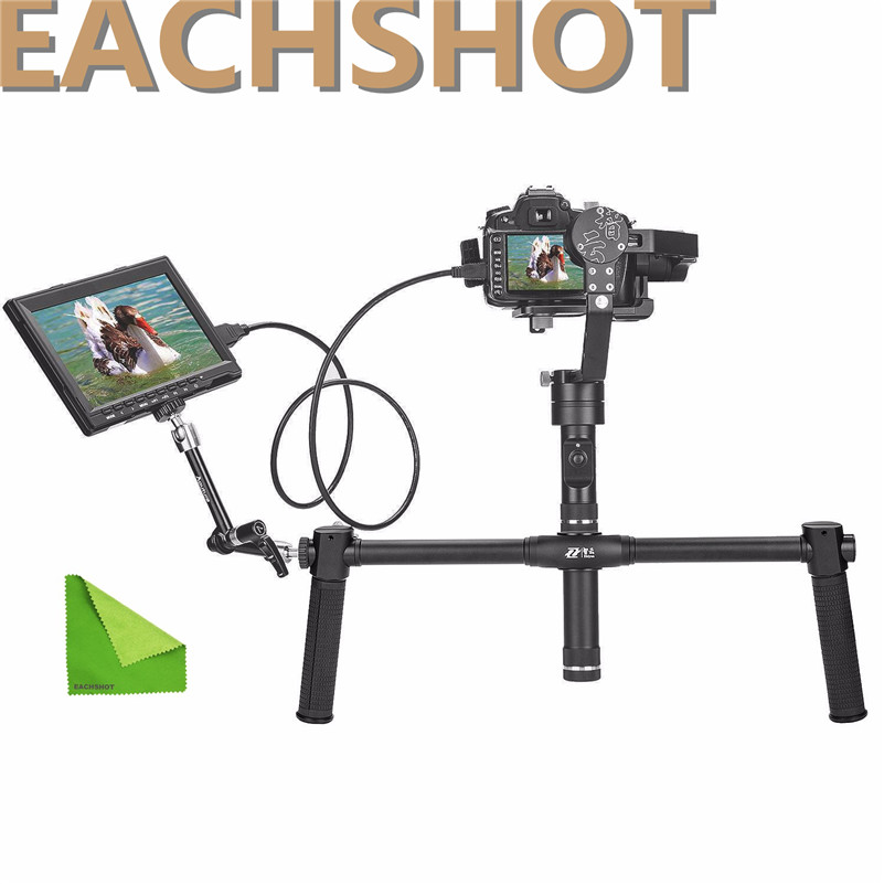 New Gifts zhiyun Crane 3 axis Handheld Stabilizer gimbal+ Dual Handheld stand for DSLR Canon SONY A7 Panasonic Cameras Load 2KG