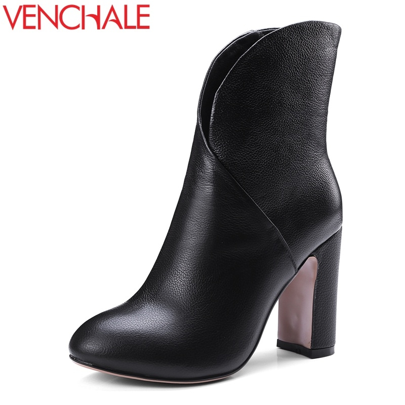 VENCHALE women genuine leather fashion booties round toe 9.5 cm super high heels ladies winter spring black beige ankle boots fashion embroided design spring winter casual women shoes zipper round toe square high heels women ankle booties free shipping