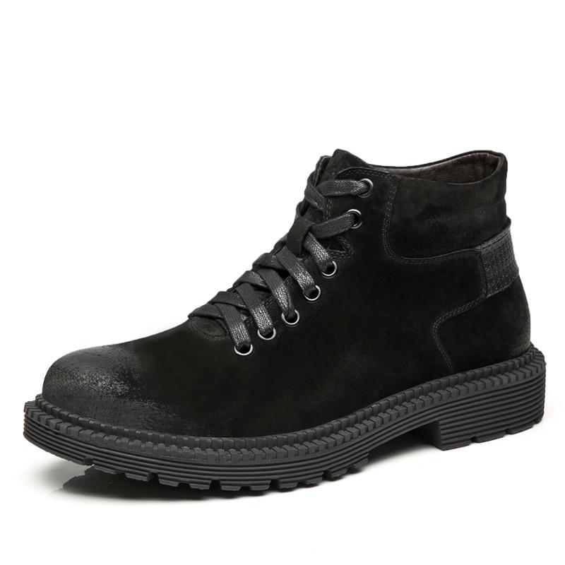 Chaussures En Black brown De Caoutchouc Martin Véritable Hommes Botas Travail Brosser Cuir Médecin Cheville Martins Hiver Bottes Doc Militaires gray Rq1TRY8
