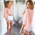 Vancol sexy 2 unidades set verano de las mujeres 2016 media sleee v-cuello Tops y Pantalones Cortos con Borlas De Alta Calidad Trajes de Ropa de Playa de Las Mujeres