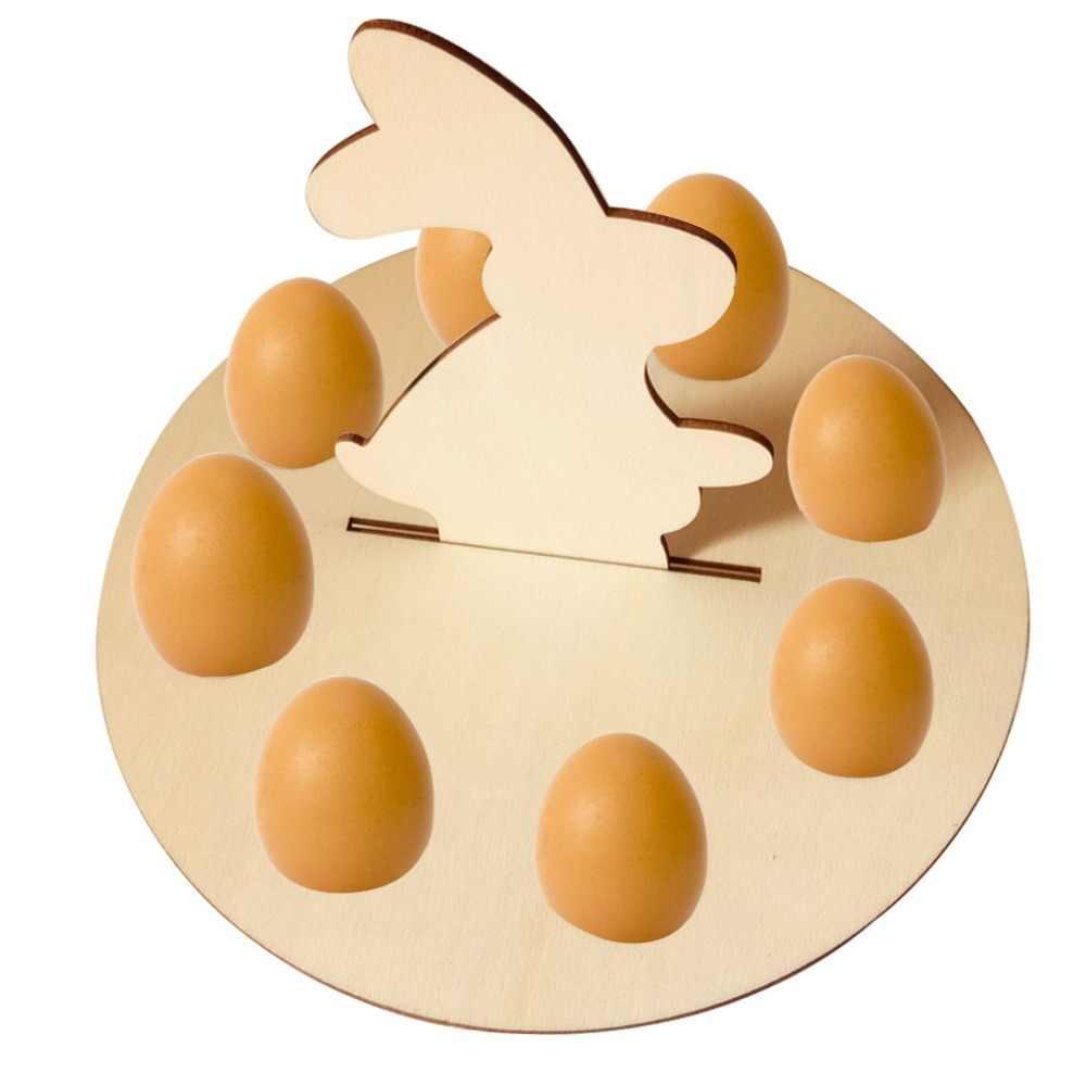Di legno Creativo Uovo di Pasqua Ripiani per I Bambini Bunny Gallina Modello Carry Tenere Uova Festival Uovo di visualizzazione di stoccaggio Foro Pascua Pascoa