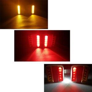 Image 5 - 1 Pair AOHEWEI 12v 18 leds trailer light high brightness License Plate brake stop position led light indicator tail light