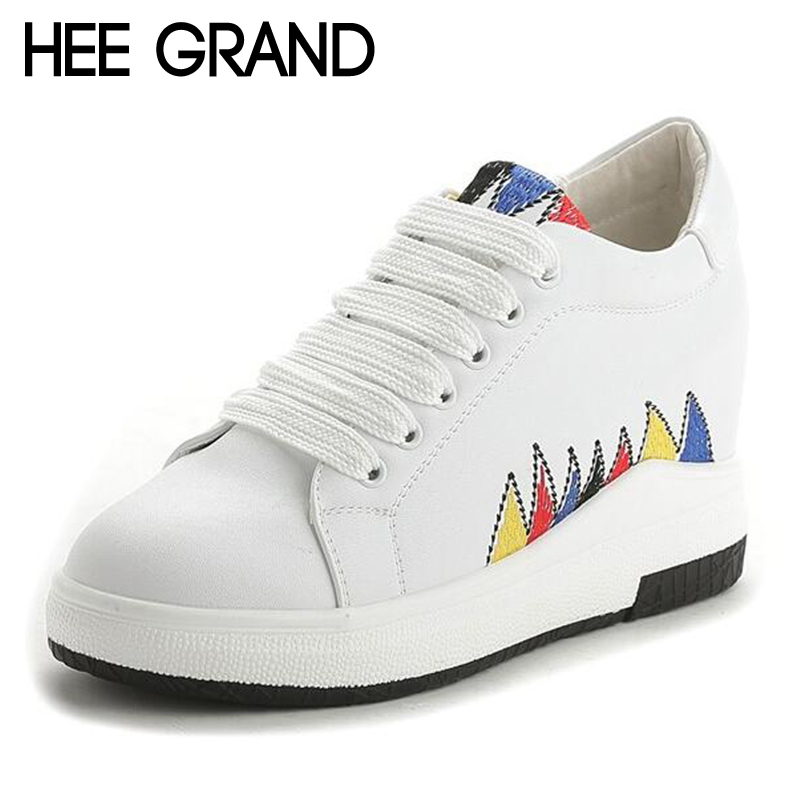 HEE GRAND Embroider Decoration Women Lofers 2018 New Spring Fashion Shoes Women Causal Flats with Lace-up Women Shoes XWD6553