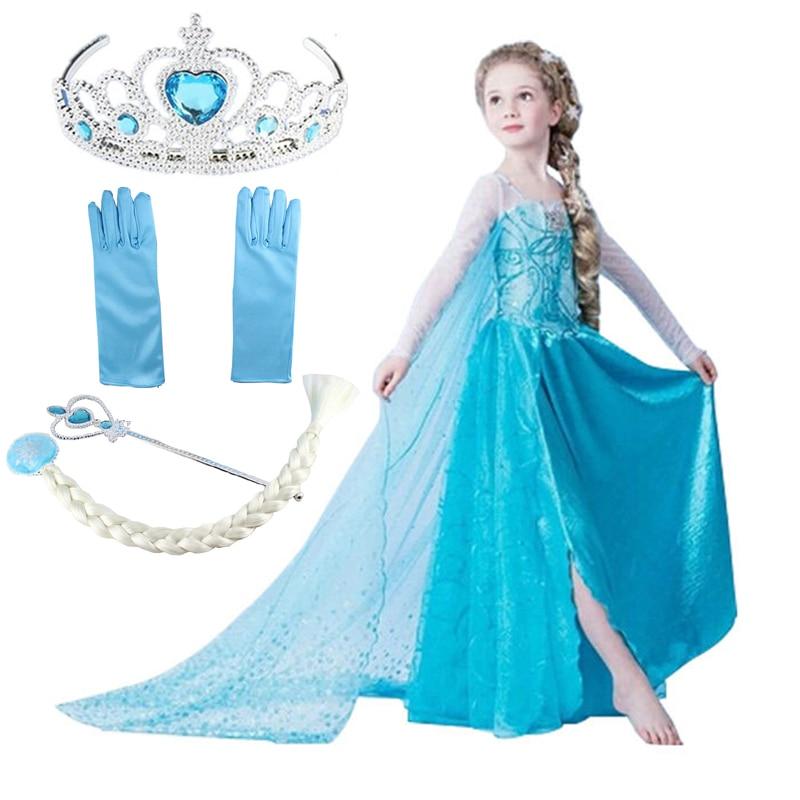 Congelati Queen Elsa Abiti Da Principessa Anna Elsa Elza Costumi per le Ragazze Del Partito Abiti Fantasia Per Bambini Vestiti per Ragazze Elsa Set