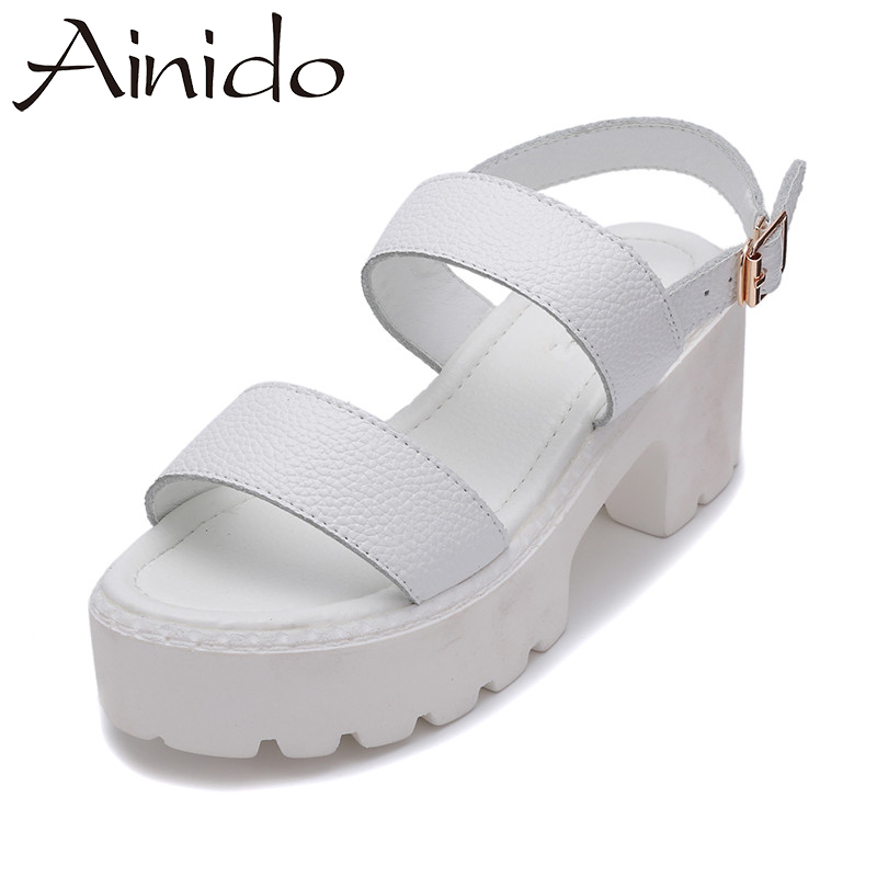 AINIDO Genuine Leather Shoes Women Black White Sandals Summer Thick Heel Platform Casual Female Sandal eyeholes 2016 paillette shoes female genuine leather platform casual shoes sequins glittle eyelashes eyes white shoes