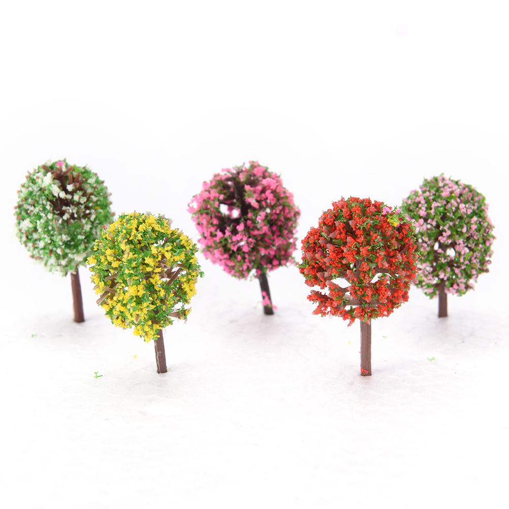 5 Pcs Artificial Pink Tree Willow Miniature Garden Home House Decoration Micro 2.3*3.6cm