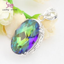 Top Jewelry Classic Oval Antique Mystic Synthetic Stone Pendants for Necklaces USA Russia Canada Australia Wedding Pendants(China)