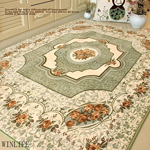 WINLIFE European Rustic Room Mats Mediterranean Roses Bedroom Carpet Modern Large Rugs Beige